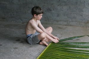 Fletcher working hard on his weaving