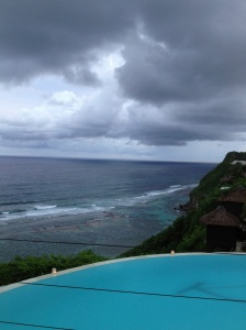 Cool clouds --shot of the pool overlooking the ocean
