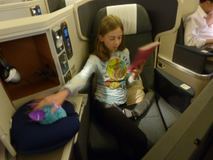 Allie and Furby settling in for the long flight to Hong Kong